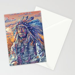 native american portrait-red cloud Stationery Cards