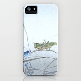 Grasshopper and the Blue Flowers - Vintage Japanese Woodblock Print Art iPhone Case