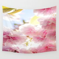 cherry blossom Wall Tapestries featuring Cherry Blossom by 2sweet4words Designs