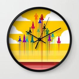 colorful rockets Wall Clock