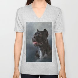 Drawing oil painting dog breed Cane Corso Unisex V-Neck