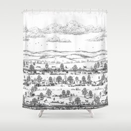 GREYHOUND TOILE LANDSCAPE  drawing Shower Curtain