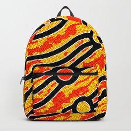 Authentic Aboriginal Art - Bush Fires Backpack