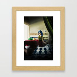 Girl Looking Out a Window Framed Art Print