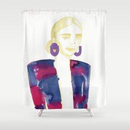 Meg's extravagant cardigan Shower Curtain