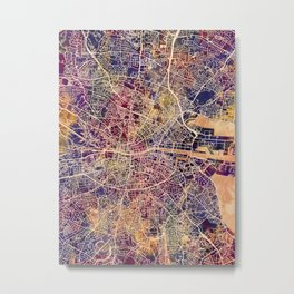 Dublin Ireland City Map Metal Print
