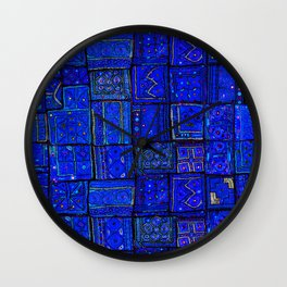 -A2- Lovely Calm Blue Traditional Moroccan Pattern Artwork. Wall Clock