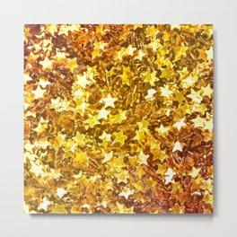 Glittering Golden Stars Metal Print