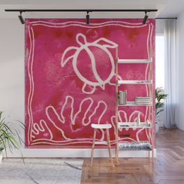 Honu Petroglyph with Coral - Pink Wall Mural