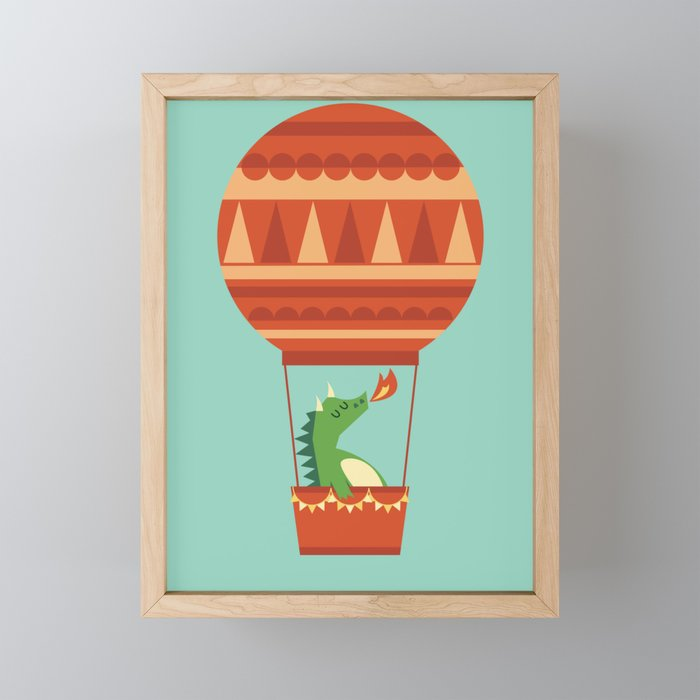 Dragon On Hot Air Balloon Framed Mini Art Print