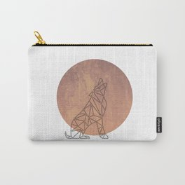 Geometric Wolf In Thin Stipes On Circle Background Carry-All Pouch