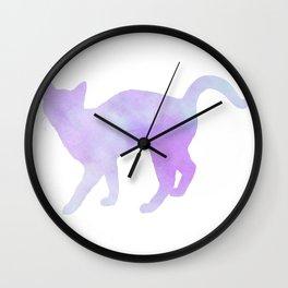 Watercolour silhouette standing cat - purple / blue Wall Clock