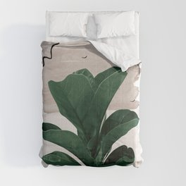 Fiddle Leaf Abstract - Naturelle #1 #minimal #wall #decor #art #society6 Comforters