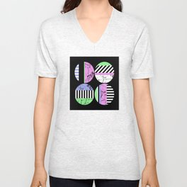 AMPS Uno - Abstract Marble Pastel Stripes Unisex V-Neck