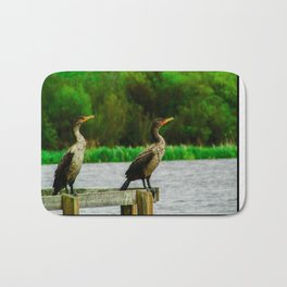 Cormorants Enjoying their View Bath Mat