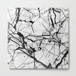 Dusty White Marble - Textured Black And White Metal Print