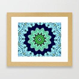 Lovely Healing Mandalas in Brilliant Colors: Light Blue, Dark Blue, Mint, Purple, and Green Framed Art Print