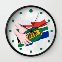 south africa Wall Clocks featuring South Africa Rugby by mailboxdisco
