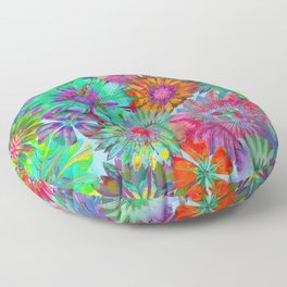 Rivalry of Flowers - multicolor Floor Pillow