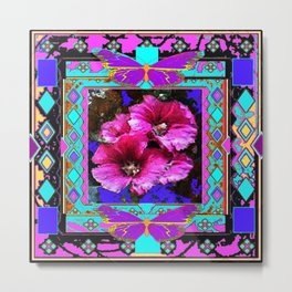 Southwestern Fuchsia Flowers & Butterfly Patterned Abstract Metal Print