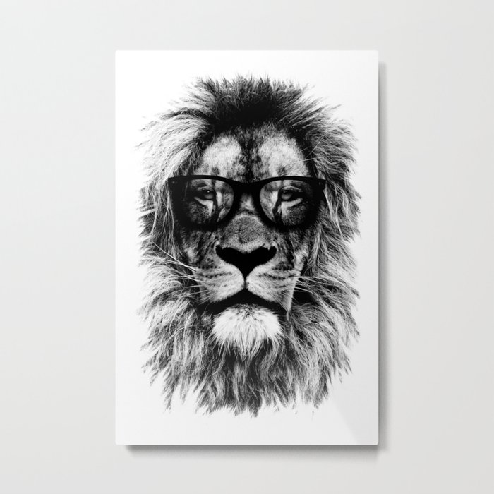 Hipster Lion White Metal Print
