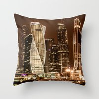 moscow Throw Pillows featuring Moscow city by Vlad&Lyubov