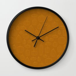 Pumpkin Scribble Wall Clock