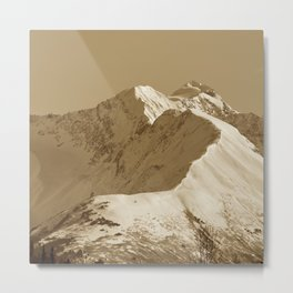 Majestic Mountain - Sepia Metal Print