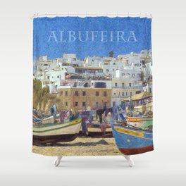 Albufeira fishing boats, Portugal Shower Curtain