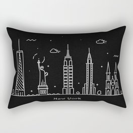 New York Minimal Nightscape / Skyline Drawing Rectangular Pillow
