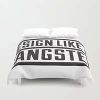 gangster Duvet Covers featuring Design like a Gangster by Liddell & Viernes