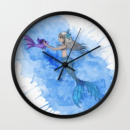 A mermaid and her friend Wall Clock