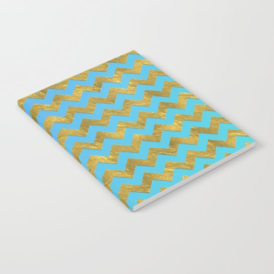 Gold glitter chevron on turquoise backround- pattern Notebook
