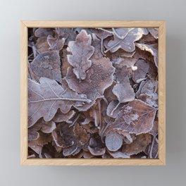 Fallen Oak Leaves Autumn Scene #decor #society6 #buyart Framed Mini Art Print