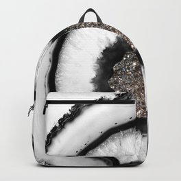 White Agate with Silver Glitter Glam #1 #gem #decor #art #society6 Backpack