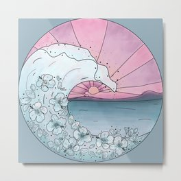 Flower Wave Teal&Pink Metal Print