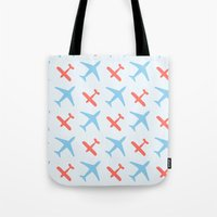 airplanes Tote Bags featuring Airplanes by Daily Design