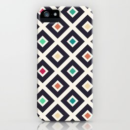 Modern Trendy Geometric Patter in Fresh Vintage Coffee Style Colors iPhone Case