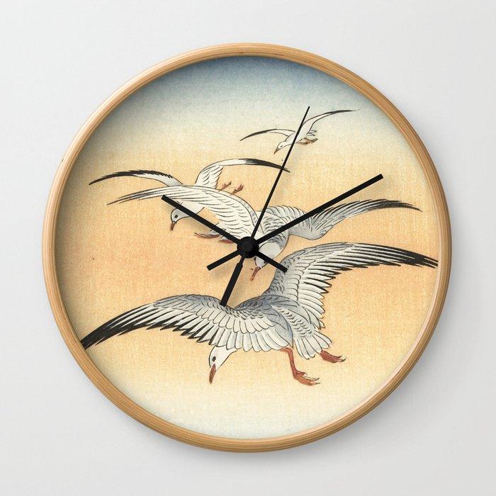 Japanese Seagull Woodblock Print by Ohara Koson Wall Clock by ...