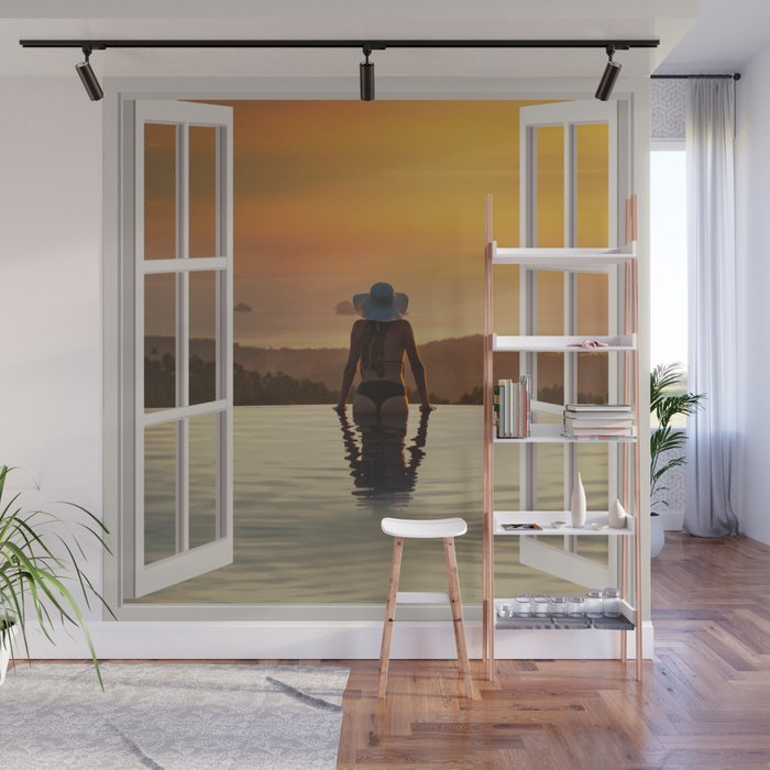 Y At The Edge Of Pool Open Window Art Wall Mural By Carlitov Society6