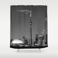 toronto Shower Curtains featuring Toronto Skyline by Christophe Chiozzi