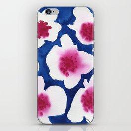 Splendor -dark blue and pink floral watercolor iPhone Skin