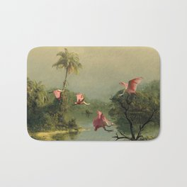 Spoonbills in the Mist Bath Mat