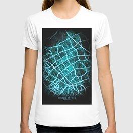 Milton Keynes, England, Blue, White, Neon, Glow, City, Map T-shirt