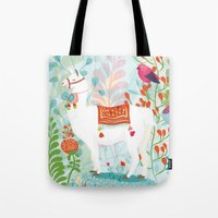 llama Tote Bags featuring Llama by The Wildest Little Things