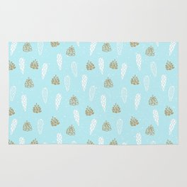 Merry Christmas-Festive teal pine cone X-Mas Pattern Rug
