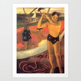 """Paul Gauguin - A man with an axe """"L'homme à la hache"""" (1891) Art Print"""