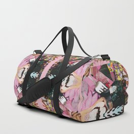 let them eat cake! a pink and green paper collage Duffle Bag