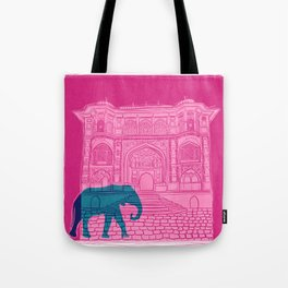 Indian palace and elephant Tote Bag