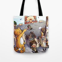 attack on titan Tote Bags featuring Attack on Kitten - Attack on Titan by Cute-Loot